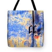 Rusted Blue And Yellow Door Tote Bag