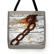 Rusted Chain On Driftwood Tote Bag