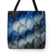 Rusted Fence With Blue Paint Tote Bag