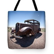 Rusted Old Car On Route 66 Tote Bag
