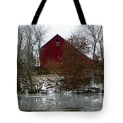 Rustic Barn By The Frozen Lake Tote Bag