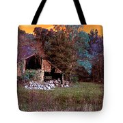 Rustic Barn In Disrepair False Color Infrared Tote Bag