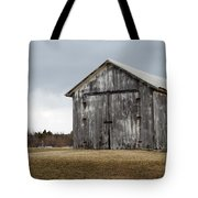 Rustic Barn With Dark Clouds Tote Bag
