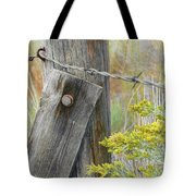 Rustic Fence And Wild Flowers Montana Tote Bag