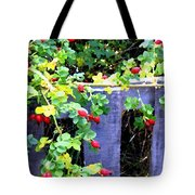 Rustic Fence And Wild Rosehips Tote Bag