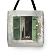 Rustic Open Window With Green Shutters Tote Bag