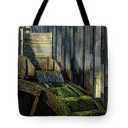 Rustic Water Wheel With Moss Tote Bag