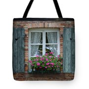 Rustic Window And Red Bricks Wall Tote Bag by Yair Karelic