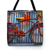Rusty Bike With Lights Tote Bag