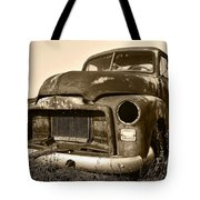 Rusty But Trusty Old Gmc Pickup Truck - Sepia Tote Bag by Gordon Dean II