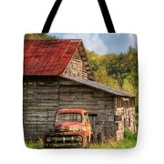 Rusty Ford At The Barn Tote Bag