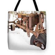 Rusty Old Steel Wheel Tractor In The Snow Tilt Shift Tote Bag
