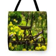 Rusty Plow In Daffodils  Tote Bag