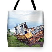 Rusty Retired Fishing Boat Tote Bag