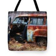 Rusty Station Wagon Tote Bag by Ken Barrett