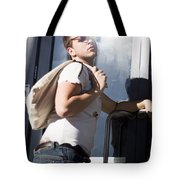 Sacked Man Entering Unemployment Office Tote Bag