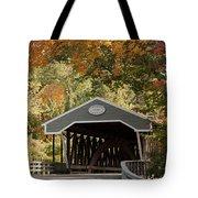 Saco River Covered Bridge Under Fall Foliage Tote Bag