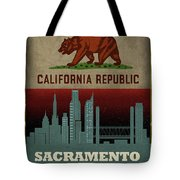 Sacramento City Skyline State Flag Of California Art Poster Series 023 Tote Bag