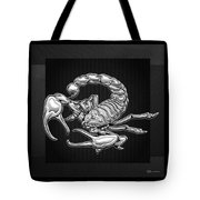 Sacred Silver Scorpion On Black Canvas Tote Bag