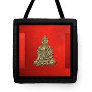 Sacred Symbols - Gold Buddha On Black And Red  Tote Bag