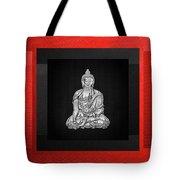 Sacred Symbols - Silver Buddha On Red And Black Tote Bag