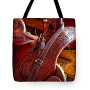 Saddle In Tack Room Tote Bag