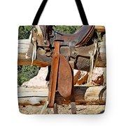 Saddle On Ranch Fence Tote Bag