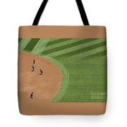 Safeco Field Abstract Patterns With Ground Crew Preparing Field  Tote Bag