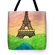 Saffron Sunset Over Eiffel Tower In Paris-watercolour  Tote Bag