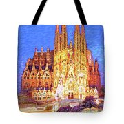 Sagrada Familia At Night Tote Bag