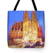 Sagrada Familia At Night Tote Bag
