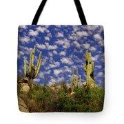 Saguaros Under A Cloud Dappled Sky Tote Bag