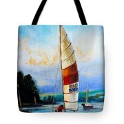 Sail Boats On The Lake Tote Bag