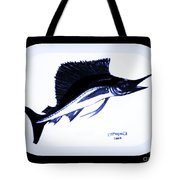 Sail Fish In Black And White Watercolor Tote Bag