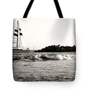 Sailboat And Lighthouse 2 Tote Bag by Marilyn Hunt