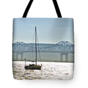 Sailboat And The Tappan Zee Bridge Tote Bag