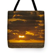 Sailboat As The Sun Sets Tote Bag