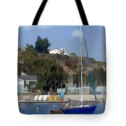 Sailboat At Anchor In Harbor Tote Bag