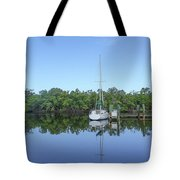 Sailboat At Dock Florida Tote Bag