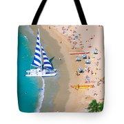 Sailboat At Waikiki Tote Bag