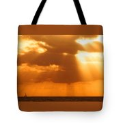Sailboat Bathed In Hazy Rays Tote Bag