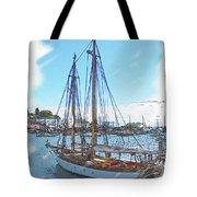 Sailboat Docked In Camden Tote Bag