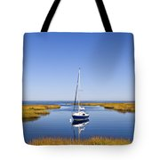 Sailboat In Salt Marsh Tote Bag