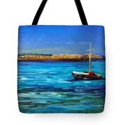 Sailboat Off Karpathos Greece Greek Islands Sailing Tote Bag