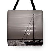 Sailboat Sunrise In B And W Tote Bag