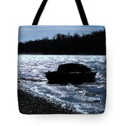 Sailboat Washes Up On Sandbar Tote Bag