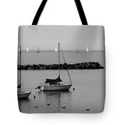 Sailboats And Ducks B-w Tote Bag