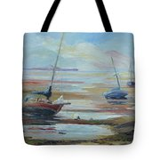 Sailboats At Low Tide Near Nelson, New Zealand Tote Bag