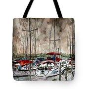 Sailboats At Night Tote Bag
