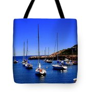 Sailboats Moored In Rockport Harbour. Tote Bag